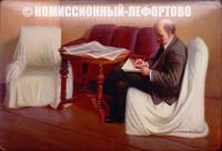 лаковая миниатюра Ленин в Смольном с. Федоскино автор Лавров 1956 год.