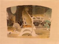 литография «Тигры» серия цирк, период ссср 1958 год.