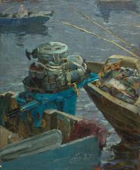 лодочный мотор 1960 г М\ДВП 90Х110 художник Будкеев М. Я.