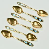 ложки кофейные 6 штук серебро 875 позолота эмаль 1960 год