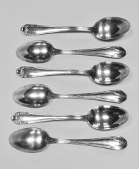 ложки кофейные, набор из 6 штук серебро 800 пробы.