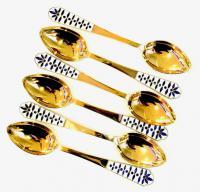 набор чайных серебряных ложек с эмалью, период ссср.