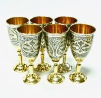 набор фужеров серебро 875 проба, период ссср Кубачи.