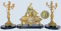 набор из позолоченных часов с греческой музой истории Клио и пара канделябров на 5 свечей, XIX век Франция