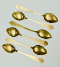 набор ложек чайных серебро 875 позолота эмаль.