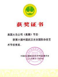 награда сертификат оргкомитета международного фестиваля искусств Китая Wuhan акробатической группы 2004 год.
