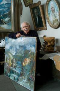 народный художник РФ Будкеев М. Я. в мастерской, Барнаул 2009 год.