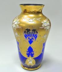 настольна ваза стекло, лепка, Богемия чсср 1970 гг