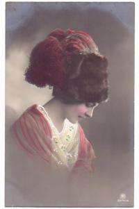 открытое письмо, портрет дамы до 1917 года.