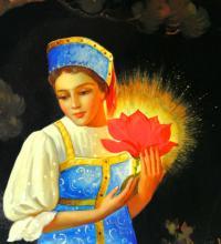 панно «Аленький цветочек» федоскино, период ссср 1975 год.