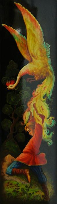 панно «Жар-птица» федоскино, период ссср 1973 год.