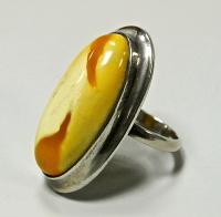 перстень серебро 925 проба, вставка янтарь, период ссср.