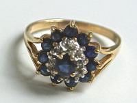 перстень золото 583 сапфиры, бриллианты.