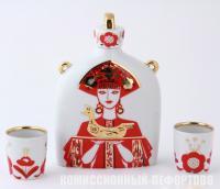подарочный набор для вина, форма «Славянский», рисунок «Девица», лфз 1950-1960 гг.