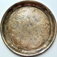 подносной поднос, серебро 875 проба гравировка штихелем, период ссср.