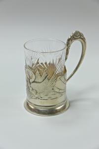 подстаканник «Лебеди», серебро 875 пробы