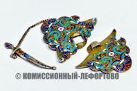 пряжка для пояса серебро, эмаль 6 цветов, конец XIX века