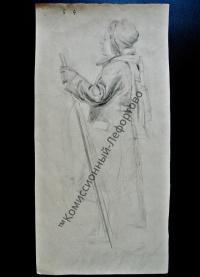 Рисунок карандашный, художник Шелманов Б.С. СССР 1950-1960 гг.