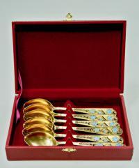 серебряные чайные ложки, набор из шести штук, период ссср 1970 гг.