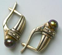 Серьги серебро 875 гематит, сделано в ссср 1960-70 гг.