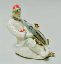 статуэтка «Емеля со щукой» лзфи, период ссср 1950 - 1960 гг.