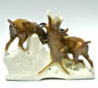 статуэтка «горные Туры» анималистика периода гдр, тюрингия sitzendorf 1970 гг.