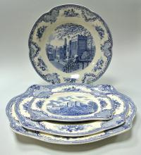 столовый сервиз фарфор OLD BRITAIN CASTLES blue decor, Англия, середина XX века