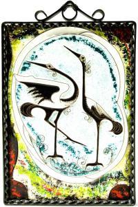 сувенирное панно «Журавли», винтаж период ссср 1975 год