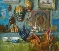 картина «Сувенирные маски монголии» - собственность частной коллекции