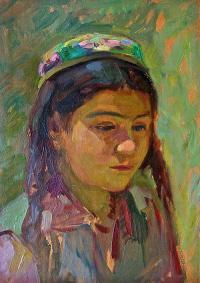 таджикская девочка 1952 г. К\M 35 X 25 см.