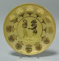 Тарелка художественное стекло Турция Ручная работа Золото 23 кар Восточный имперсккий стиль.