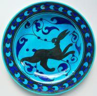 тарелка настенная фаянс «Бегущий заяц», Тибет 1980 гг