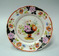тарелка в стиле шинуазри, завод Попова, Российская империя XIX век.