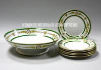 тарелки и блюдо на ножке ресторан «Яр», производство Кузнецов и Эссен начало 20 века.
