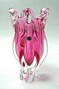 ваза интерьерная для цветов цветное стекло «Богемия» Чехия 1990 гг.