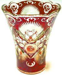 ваза интерьерная, красный хрусталь гдр 1970 гг.