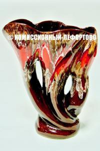 ваза керамика глазурь техника Красный вулкан, Vallauris Франция 1960 год.