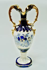 ваза кобальт золото роспись, Royal Dux Чехословакия Богемия 1970 гг.