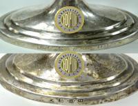 ваза-кубок серебро со стеклянной чашей в стиле ампир «Тройственный союз 1814 года»