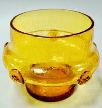 ваза медовое стекло кракле, J.Hospodka Богемия