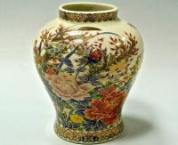 ваза миниатюра пионы, Сацума Япония 1940-1950 гг
