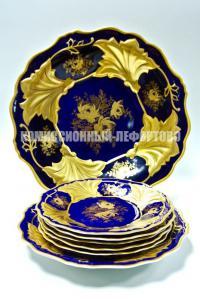 веймар кобальт золото 2 блюда и 5 тарелок, период гдр 1980 гг.