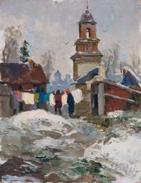 картина «Весна в Пскове» - собственность часной коллекции.