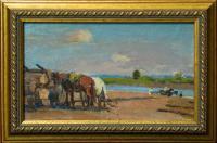 картина «Вывоз леса с реки» - собственность частной коллекции.
