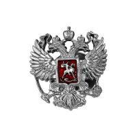 значок Российский герб, серебро 925 пробы.